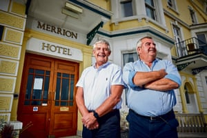 Brothers Paul and Gareth Bream run the Merrion Hotel in Llandudno, North Wales, they have had support to help see their business survive the Covid19 lockdown. Pictured Gareth and Paul outside their large hotel