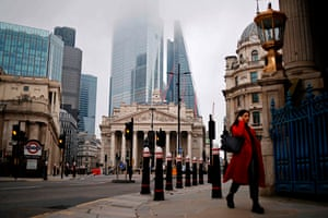 London, EnglandA pedestrian walks near the Bank of England as Londoners continue to live under tier 4 lockdown restrictions. Business breathed a sigh of relief after a post-Brexit trade deal was agreed, but many issues remain unresolved, notably in respect of financial services.