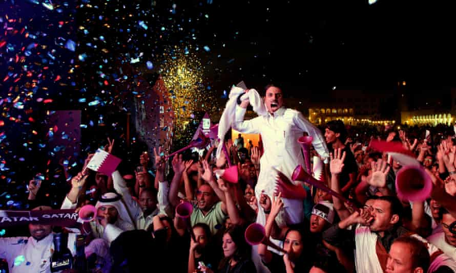 Crowds in Doha celebrate in December 2010 after Qatar was awarded the 2022 World Cup