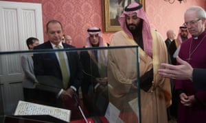 The Archbishop of Canterbury showing Mohammed bin Salman one of the earliest surviving records of the Koran