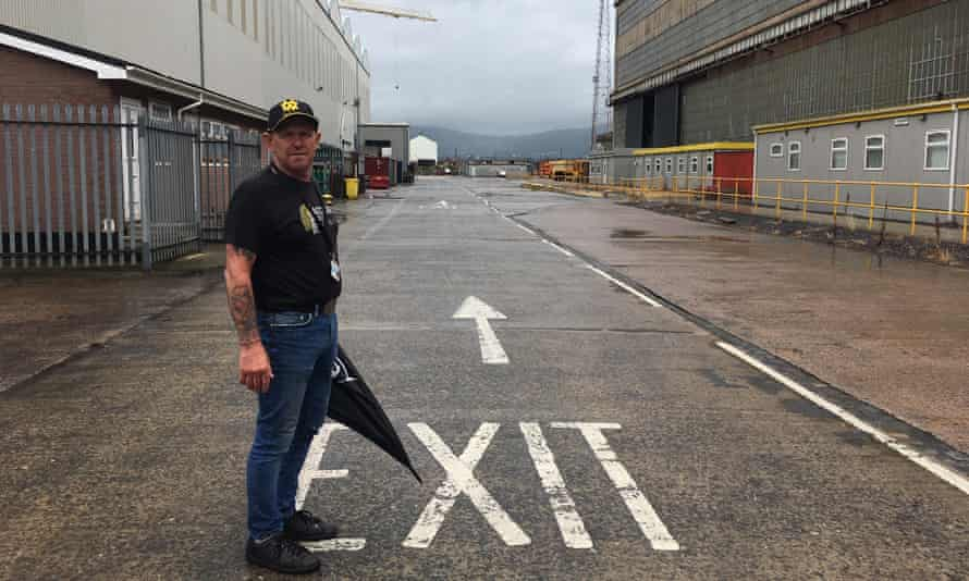 Gary Fleming, a shipfitter, at the deserted Harland and Wolff yard