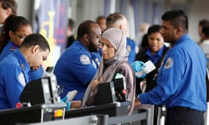 TSA agents at check-in. There are no clear patterns in the searches that people have described to the ACLU.