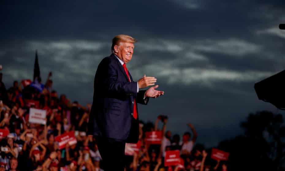 Former President Donald Trump arrives at the Sarasota Fairgrounds to speak to his supporters during the Save America Rally in Sarasota, Florida, on 3 July 2021.