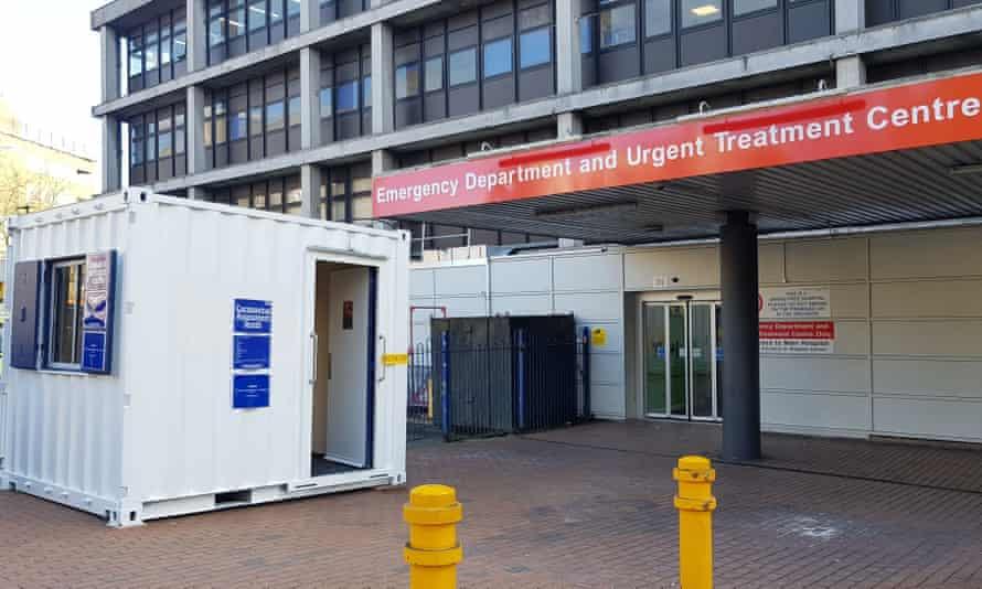 Coronavirus booth outside Whittington Hospital