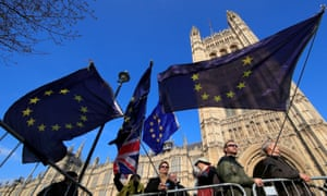 Anti-Brexit protesters outside parliament on 11 April.