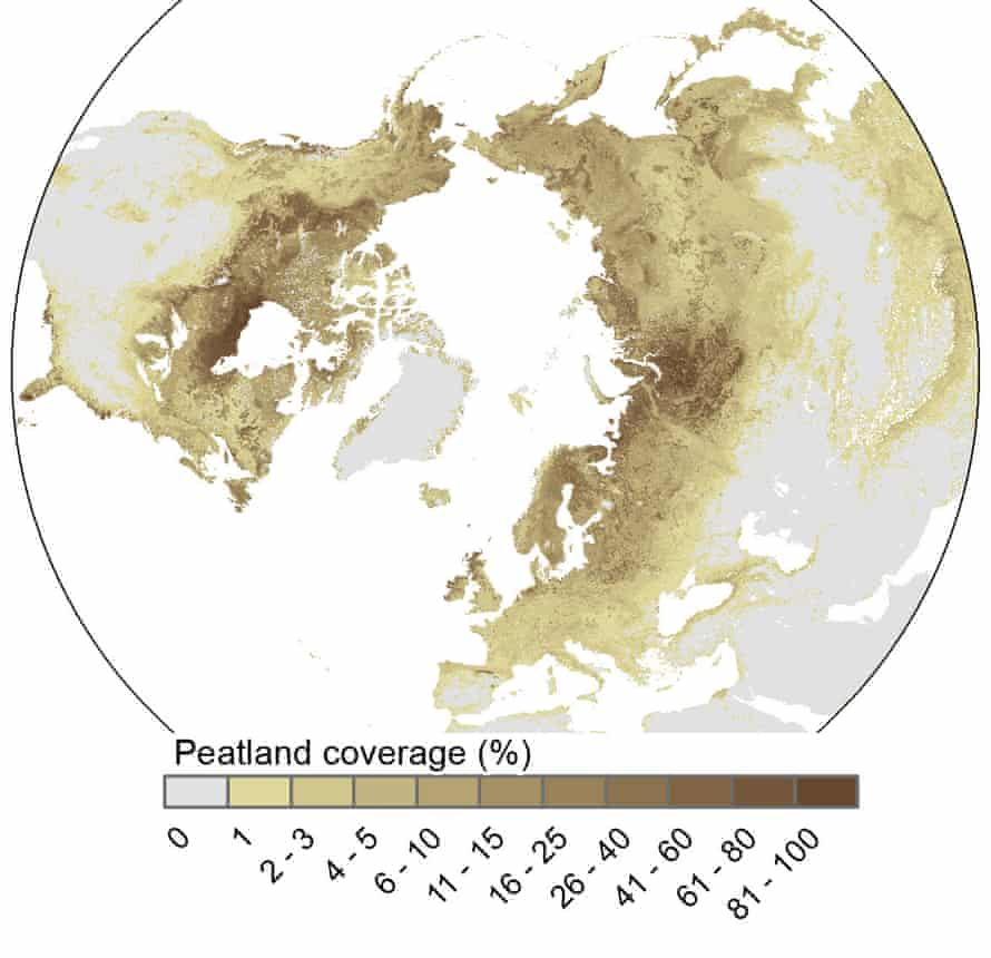 Map of the extent of peatlands in the northern hemisphere.