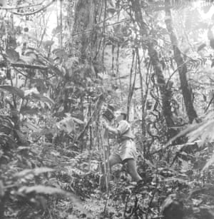 Charles Lagus filming in the forest, in Guyana. 1954