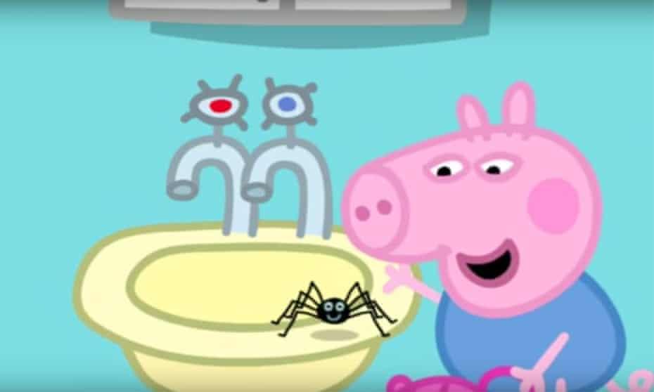 Peppa Pig cartoon spider episode.