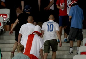 England fans leave the stadium after the round of 16 defeat against Iceland at Stade de Nice, France.
