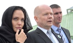 Angelina Jolie and William Hague visit the Srebrenica-Potocari Genocide Memorial cemetery