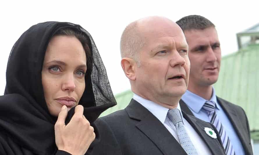 Angelina Jolie and William Hague visit the Srebrenica-Potocari Genocide Memorial cemetery