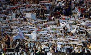 Celta Vigo's fans celebrate after the team beat Barcelona 2-0.