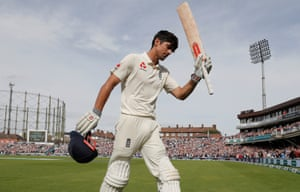 Alastair Cook of England acknowledges the applause from the crowd at the Kia Oval, as he walks off after being dismissed after getting a century in his final test match innings before retirement during the fourth day of the England v India fifth test match in September 2018