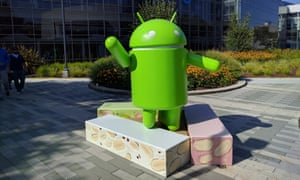 The Android Nougat statue at Google's California campus