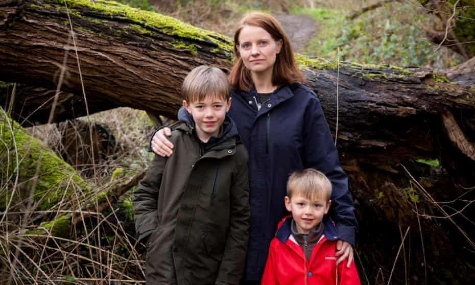 Gill Hammond with her sons Tom, left, and Jimmy, January 2021