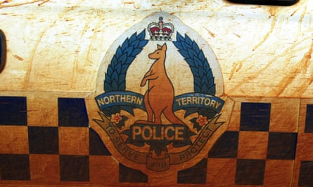 The side of a NT police vehicle.
