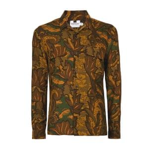 orange, brown, green camouflage shirt Topman