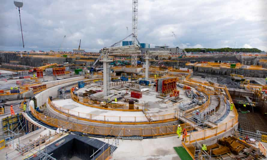 Construction work at Hinkley Point C, the new nuclear power station in Somerset, UK