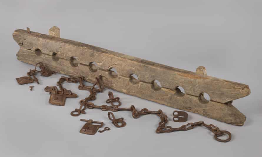 Leg cuffs with 6 loose shackles, ca. 1600-1800, on display at the Rijksmuseum.