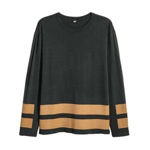 khaki and black striped top H&M