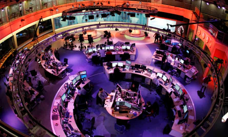 The newsroom at the headquarters of the Qatar-based Al Jazeera English-language channel in Doha, February 2011.