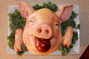 A rice-crispies-based severed-pig-head cake by Katherine Dey