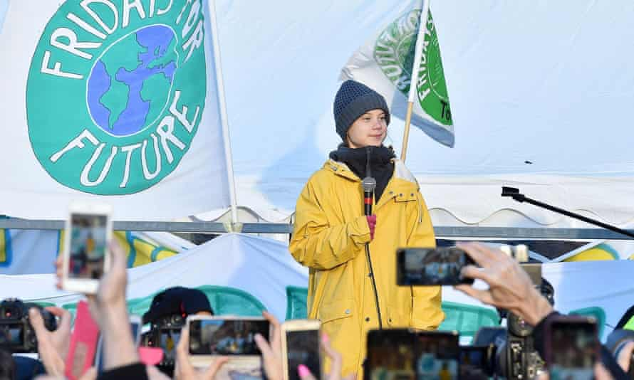 Thunberg speaking at a Fridays For Future rally in Turin