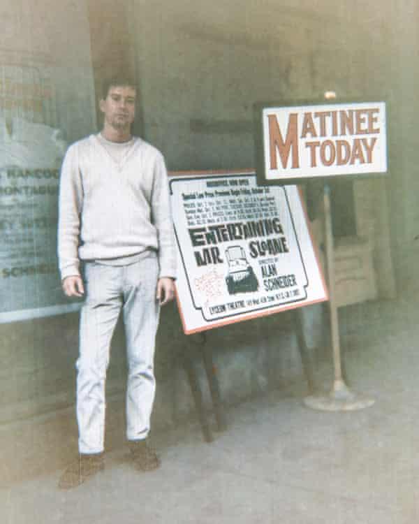 Joe Orton outside the Lyceum Theatre, New York.