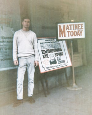 Joe Orton outside the Lyceum Theatre, New York.