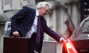 David Davis leaves his office in Downing Street as he heads to Brussels.