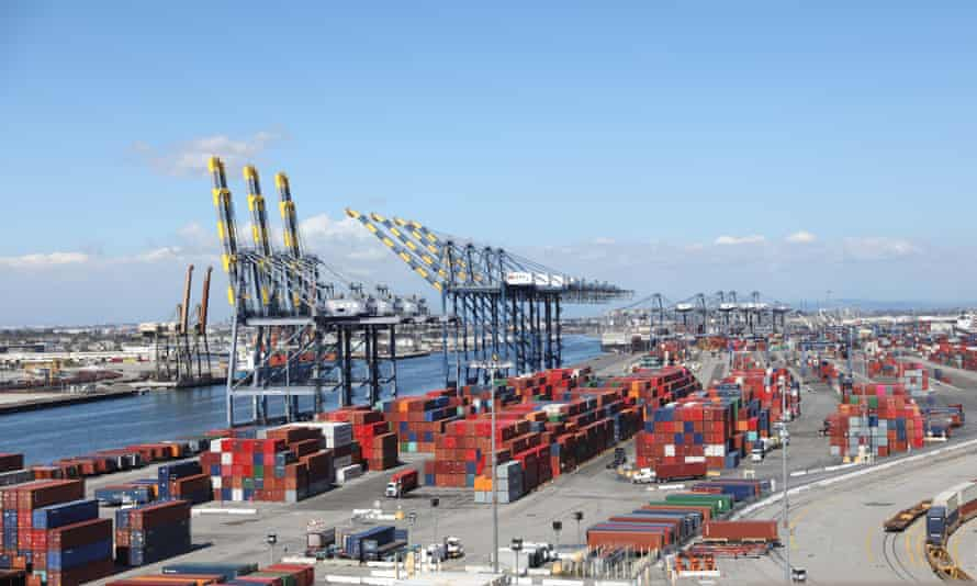 Shipping containers are seen at the Port of Los Angeles in San Pedro, California.