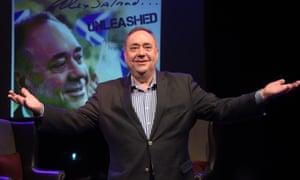 Alex Salmond on the set of his Edinburgh Fringe show.