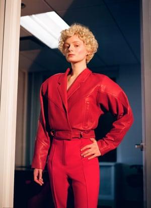 red leather jacket Topshop, red ski pants Loom