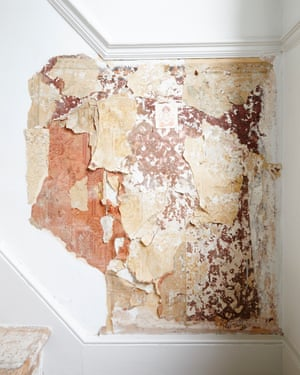 In the half-landing, Patel peeled back layers of wallpaper, dating back to Victorian times.