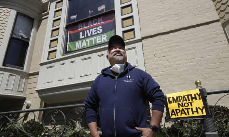 In San Francisco, a white couple was criticized after video was widely shared of them questioning James Juanillo stenciling 'Black Lives Matter' outside his home.