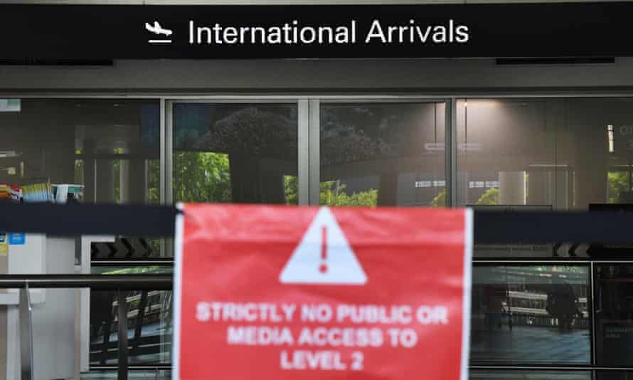 Entrance to the arrivals hall at the international airport in Brisbane