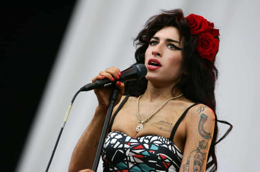 Amy Winehouse playing the V Festival in Essex, in 2008.