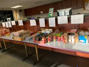 A selection of food available in quarantine on a military base in San Diego, California.