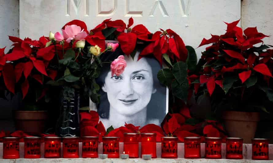 A memorial to Daphne Caruana Galizia created by protesters outside court in Valleta in December 2019