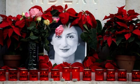 A memorial for the Maltese journalist Daphne Caruana Galizia, who was killed by a car bomb in 2017.