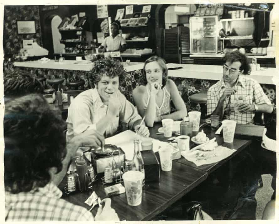 An early meeting of the Arkansas Times, circa 1974, at the Shack diner: (from left) Alan Leveritt, Margaret Arnold and David Glenn
