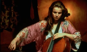 Emily Watson playing the cello and looking sad in Hilary and Jackie (1998).