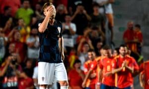 Croatia's midfielder Ivan Rakitic reacts to is side's demolition.