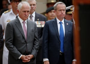 The Australian prime minister, Malcolm Turnbull, and the opposition leader, Bill Shorten, attend the 'last post' ceremony