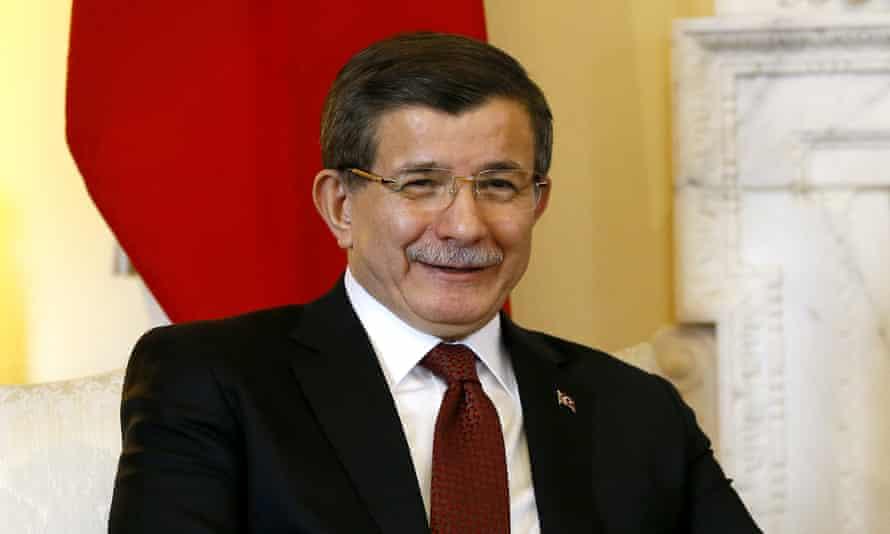 Turkish PM Ahmet Davutoğlu at 10 Downing St for talks with David Cameron.