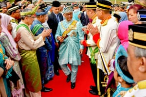 Kuantan, Malaysia The Sultan of Pahang, Sultan Abdullah Ri'ayatuddin al-Mustafa Billah Shah Ibni Sultan Ahmad Shah al-Musta'in Billah (centre) is greeted at a military airport. Sultan Abdullah was elected to serve a five-year term by eight other Malay sultans in the country's conference of rulers, replacing the previous king, Sultan Muhammad V, who had stunned the country with his sudden abdication in early January.