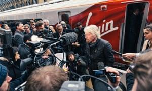 Sir Richard Branson unveils the new Virgin Azuma at King's Cross station