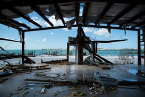 TOPSHOT-BAHAMAS-WEATHER-HURRICANETOPSHOT - A view of damages left by Hurricane Dorian September 5, 2019, in Marsh Harbor, Great Abaco. - Hurricane Dorian lashed the Carolinas with driving rain and fierce winds as it neared the US east coast Thursday after devastating the Bahamas and killing at least 20 people.