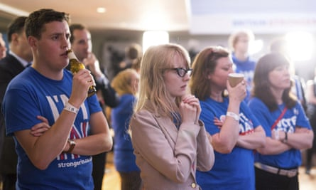 Supporters of the Stronger In campaign react after hearing results in the EU referendum at the Royal Festival Hall in London