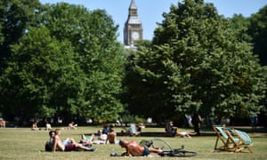 A park in London during a heatwave in July 2014.